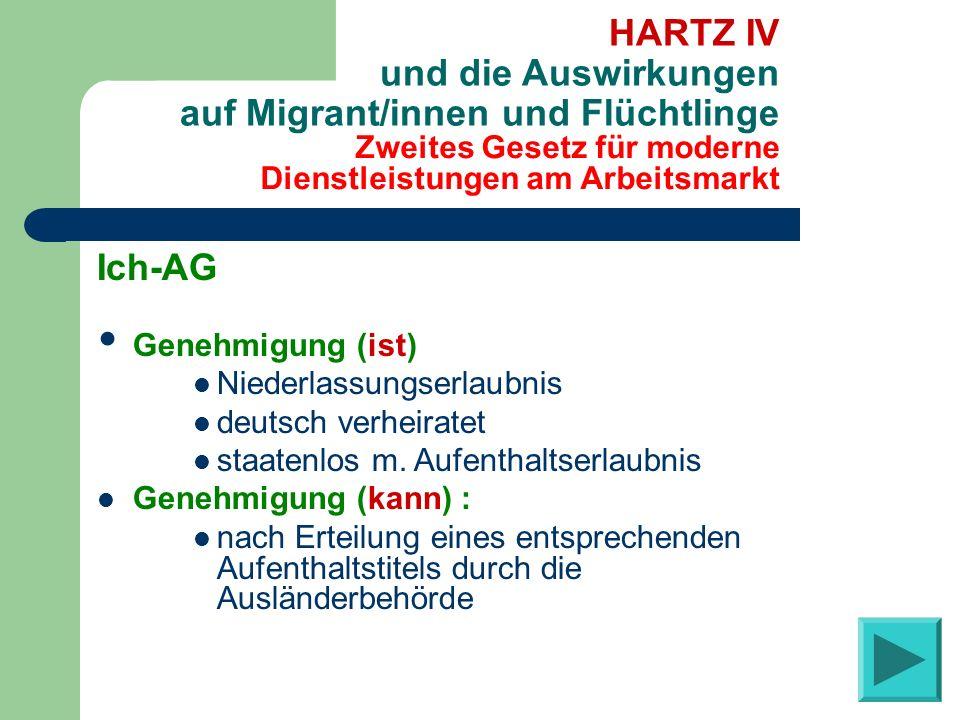 Zweites Gesetz für moderne Dienstleistungen am Arbeitsmarkt HARTZ IV und die Auswirkungen auf Migrant/innen und Flüchtlinge Ich-AG Genehmigung (ist) N