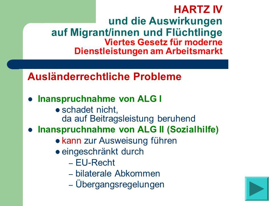 Viertes Gesetz für moderne Dienstleistungen am Arbeitsmarkt HARTZ IV und die Auswirkungen auf Migrant/innen und Flüchtlinge Ausländerrechtliche Proble