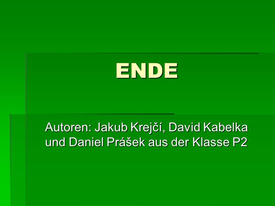 ENDE Autoren: Jakub Krejčí, David Kabelka und Daniel Prášek aus der Klasse P2