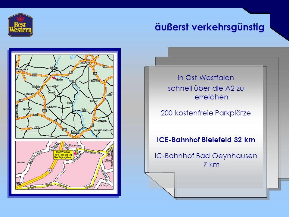 äußerst verkehrsgünstig in Ost-Westfalen schnell über die A2 zu erreichen 200 kostenfreie Parkplätze ICE-Bahnhof Bielefeld 32 km IC-Bahnhof Bad Oeynhausen 7 km