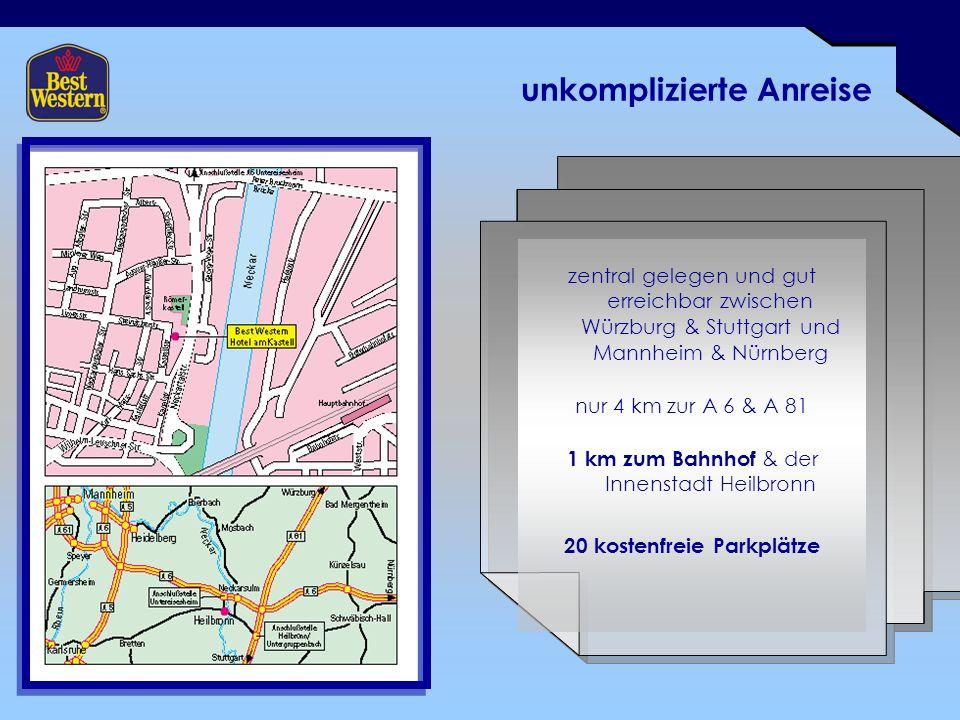 unkomplizierte Anreise zentral gelegen und gut erreichbar zwischen Würzburg & Stuttgart und Mannheim & Nürnberg nur 4 km zur A 6 & A 81 1 km zum Bahnhof & der Innenstadt Heilbronn 20 kostenfreie Parkplätze