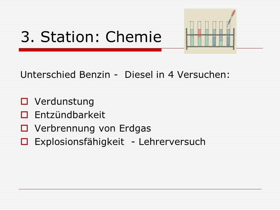3. Station: Chemie Unterschied Benzin - Diesel in 4 Versuchen: Verdunstung Entzündbarkeit Verbrennung von Erdgas Explosionsfähigkeit - Lehrerversuch