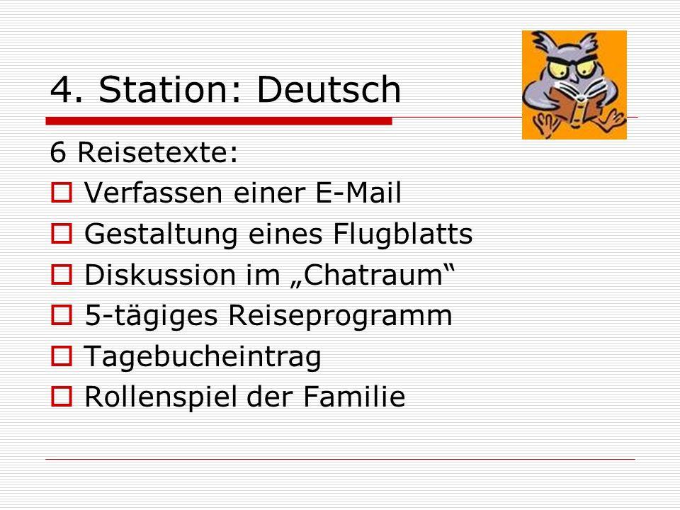 4. Station: Deutsch 6 Reisetexte: Verfassen einer E-Mail Gestaltung eines Flugblatts Diskussion im Chatraum 5-tägiges Reiseprogramm Tagebucheintrag Ro