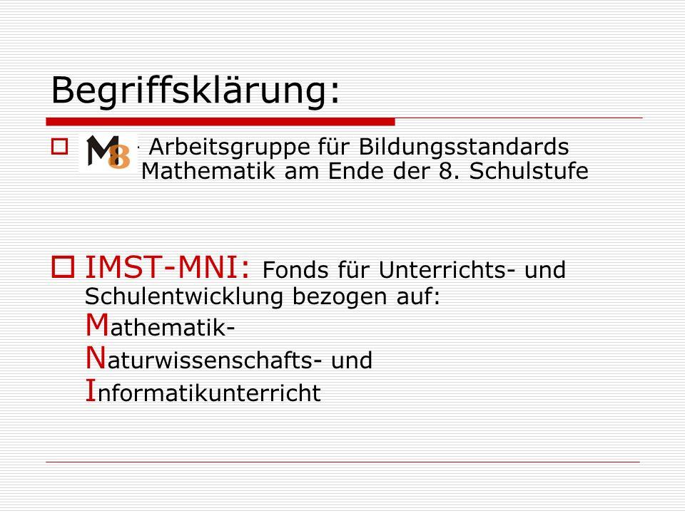 Begriffsklärung: M8 – Arbeitsgruppe für Bildungsstandards Mathematik am Ende der 8. Schulstufe IMST-MNI: Fonds für Unterrichts- und Schulentwicklung b
