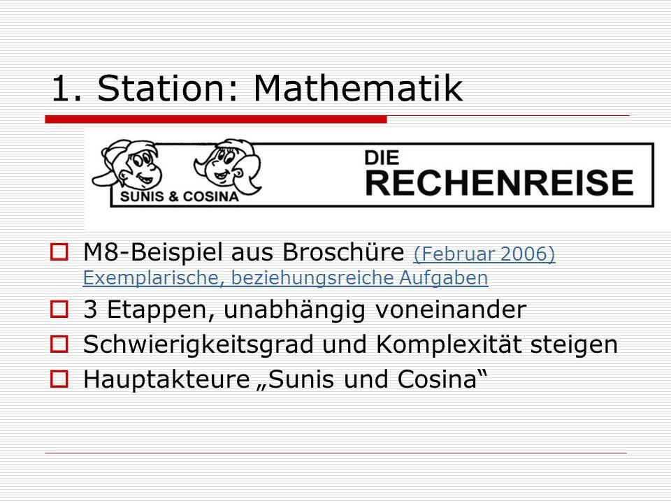 1. Station: Mathematik M8-Beispiel aus Broschüre (Februar 2006) Exemplarische, beziehungsreiche Aufgaben (Februar 2006) Exemplarische, beziehungsreich