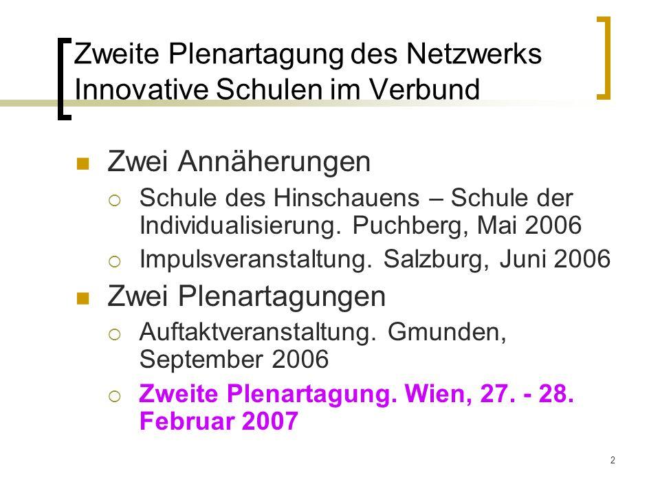2 Zweite Plenartagung des Netzwerks Innovative Schulen im Verbund Zwei Annäherungen Schule des Hinschauens – Schule der Individualisierung.