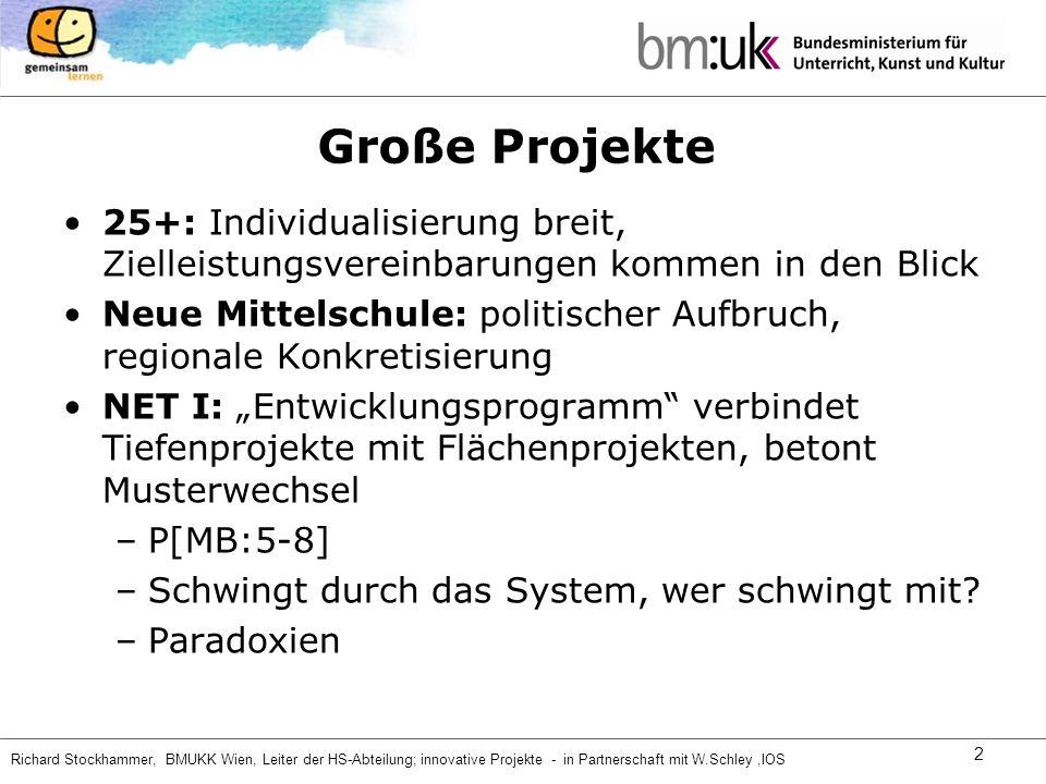 Richard Stockhammer, BMUKK Wien, Leiter der HS-Abteilung; innovative Projekte - in Partnerschaft mit W.Schley,IOS 2 Große Projekte 25+: Individualisie