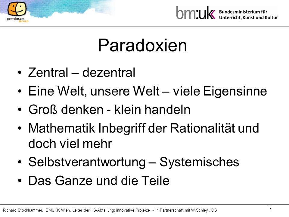Richard Stockhammer, BMUKK Wien, Leiter der HS-Abteilung; innovative Projekte - in Partnerschaft mit W.Schley,IOS 7 Paradoxien Zentral – dezentral Ein