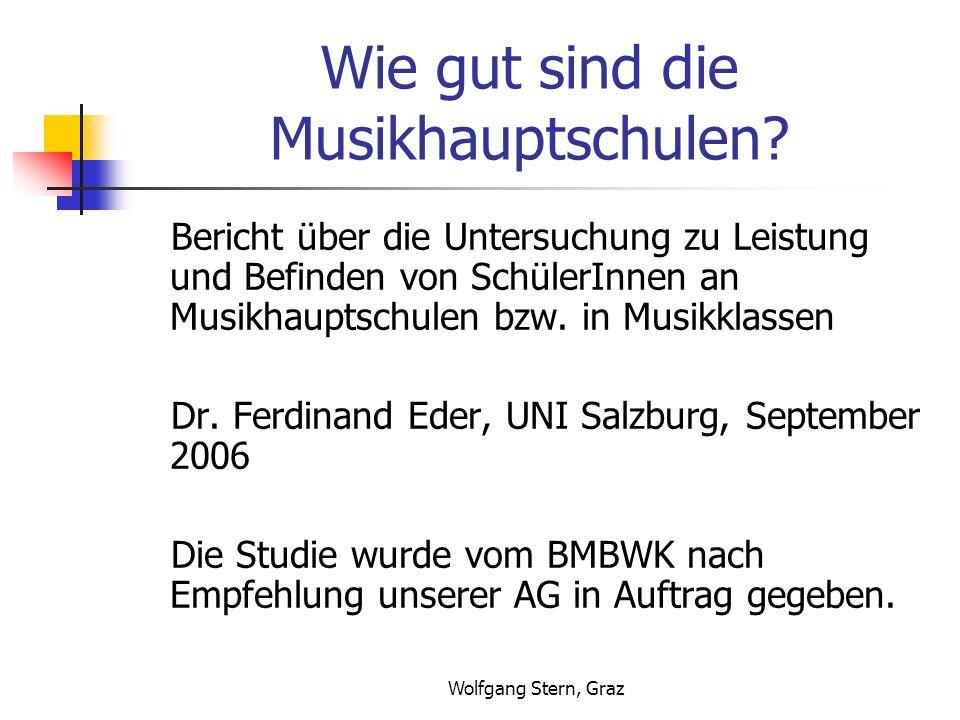 Wolfgang Stern, Graz Wie gut sind die Musikhauptschulen? Bericht über die Untersuchung zu Leistung und Befinden von SchülerInnen an Musikhauptschulen