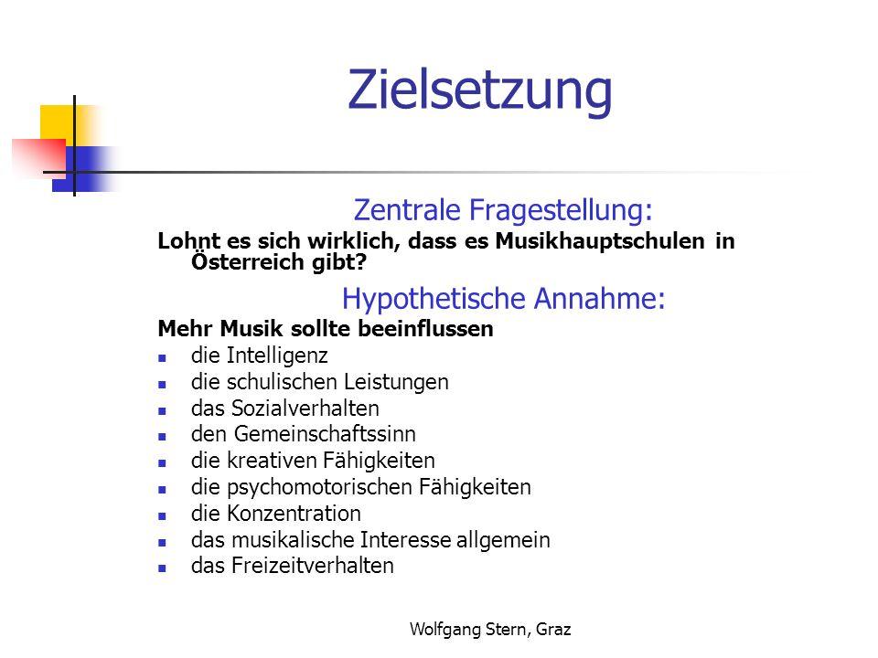 Wolfgang Stern, Graz Zielsetzung Zentrale Fragestellung: Lohnt es sich wirklich, dass es Musikhauptschulen in Österreich gibt? Hypothetische Annahme: