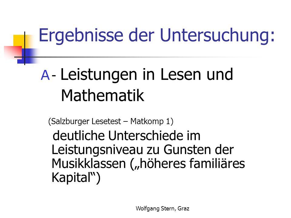 Wolfgang Stern, Graz Ergebnisse der Untersuchung: A - Leistungen in Lesen und Mathematik (Salzburger Lesetest – Matkomp 1) deutliche Unterschiede im Leistungsniveau zu Gunsten der Musikklassen (höheres familiäres Kapital)