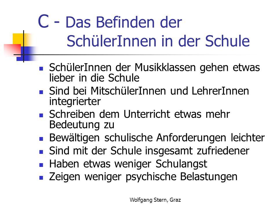 Wolfgang Stern, Graz C - Das Befinden der SchülerInnen in der Schule SchülerInnen der Musikklassen gehen etwas lieber in die Schule Sind bei MitschülerInnen und LehrerInnen integrierter Schreiben dem Unterricht etwas mehr Bedeutung zu Bewältigen schulische Anforderungen leichter Sind mit der Schule insgesamt zufriedener Haben etwas weniger Schulangst Zeigen weniger psychische Belastungen