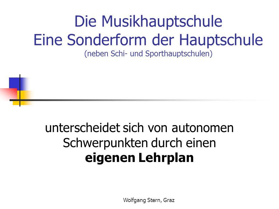 Wolfgang Stern, Graz Die Musikhauptschule Eine Sonderform der Hauptschule (neben Schi- und Sporthauptschulen) unterscheidet sich von autonomen Schwerp