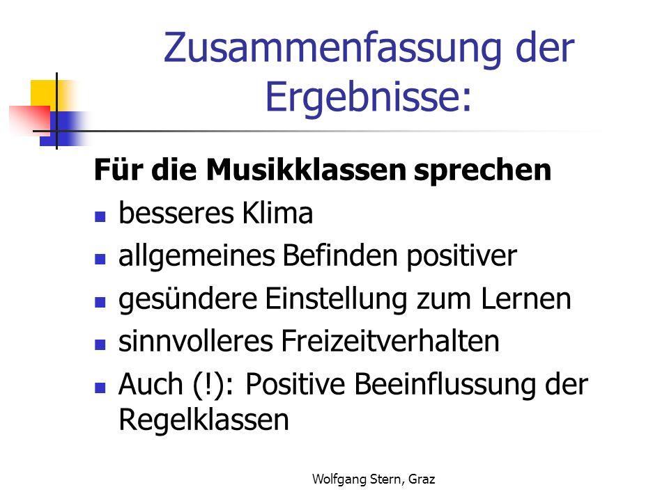 Wolfgang Stern, Graz Zusammenfassung der Ergebnisse: Für die Musikklassen sprechen besseres Klima allgemeines Befinden positiver gesündere Einstellung