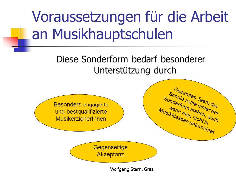 Wolfgang Stern, Graz Voraussetzungen für die Arbeit an Musikhauptschulen Diese Sonderform bedarf besonderer Unterstützung durch Besonders engagierte und bestqualifizierte MusikerzieherInnen Gesamtes Team der Schule sollte hinter der Sonderform stehen, auch wenn man nicht in Musikklassen unterrichtet Gegenseitige Akzeptanz