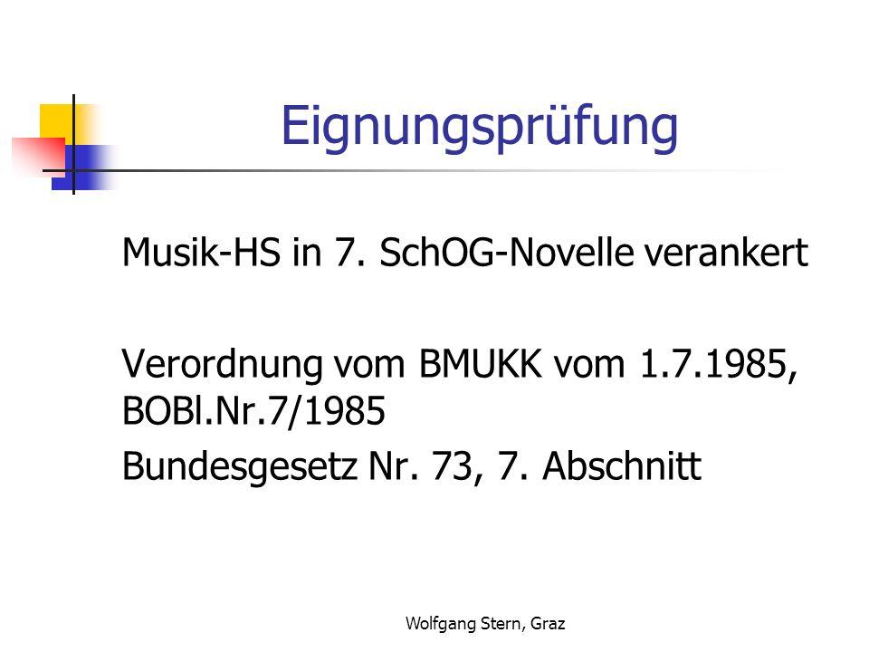 Wolfgang Stern, Graz Eignungsprüfung Musik-HS in 7. SchOG-Novelle verankert Verordnung vom BMUKK vom 1.7.1985, BOBl.Nr.7/1985 Bundesgesetz Nr. 73, 7.