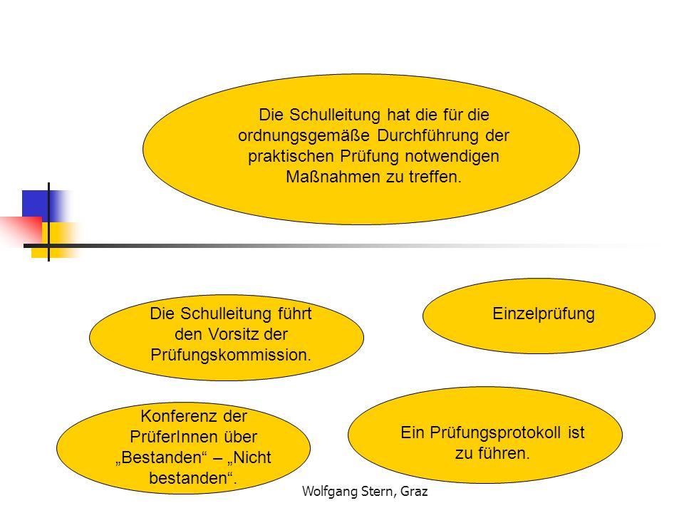 Wolfgang Stern, Graz Die Schulleitung hat die für die ordnungsgemäße Durchführung der praktischen Prüfung notwendigen Maßnahmen zu treffen. Die Schull