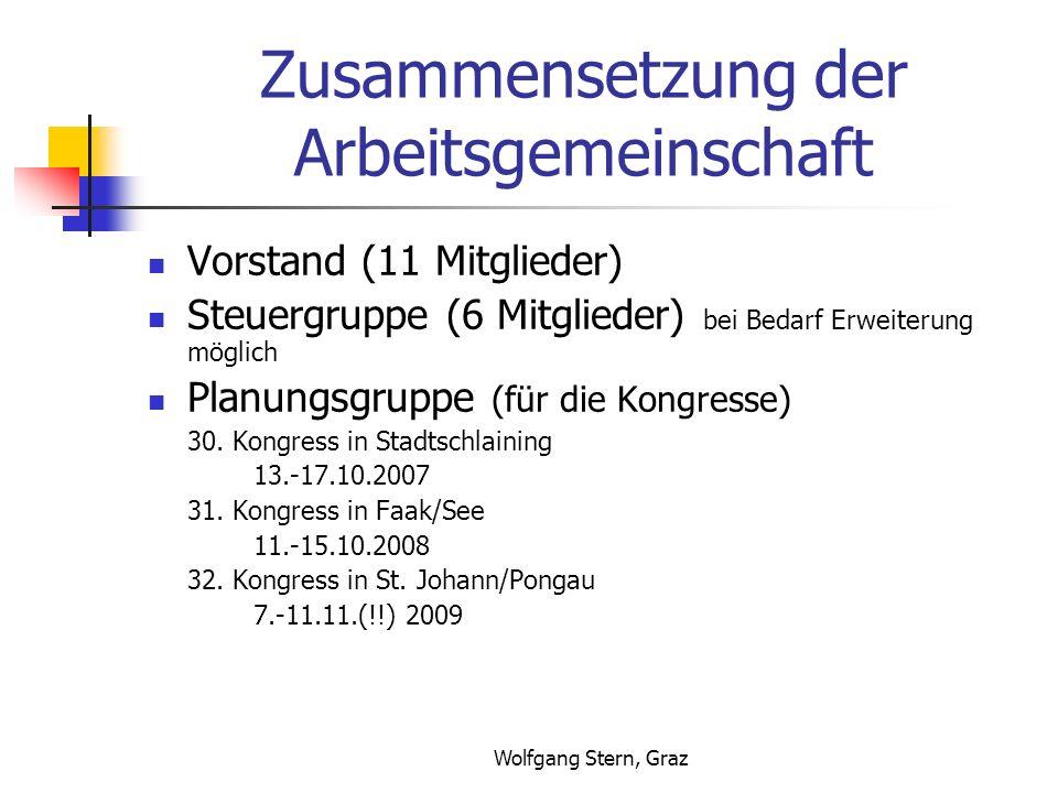 Wolfgang Stern, Graz Zusammensetzung der Arbeitsgemeinschaft Vorstand (11 Mitglieder) Steuergruppe (6 Mitglieder) bei Bedarf Erweiterung möglich Planu