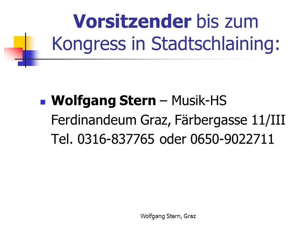 Wolfgang Stern, Graz Vorsitzender bis zum Kongress in Stadtschlaining: Wolfgang Stern – Musik-HS Ferdinandeum Graz, Färbergasse 11/III Tel.