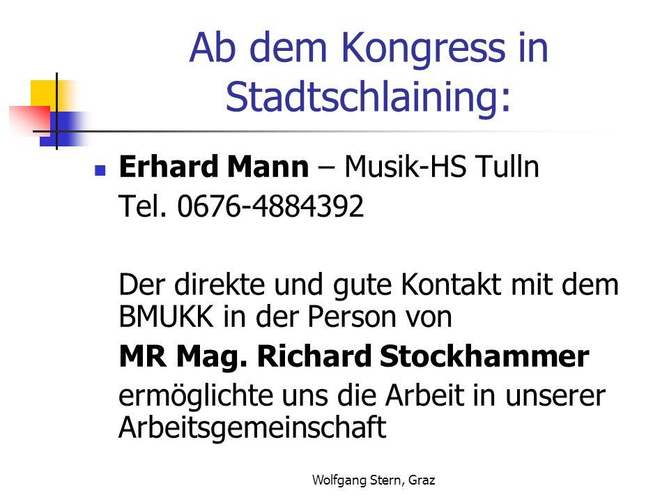 Wolfgang Stern, Graz Ab dem Kongress in Stadtschlaining: Erhard Mann – Musik-HS Tulln Tel. 0676-4884392 Der direkte und gute Kontakt mit dem BMUKK in