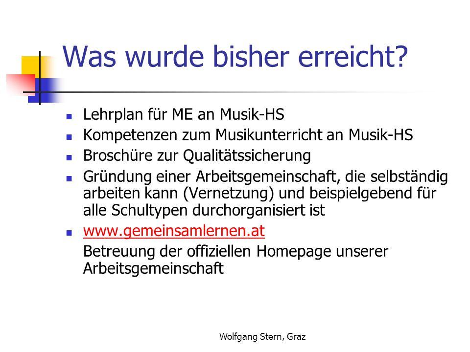 Wolfgang Stern, Graz Was wurde bisher erreicht? Lehrplan für ME an Musik-HS Kompetenzen zum Musikunterricht an Musik-HS Broschüre zur Qualitätssicheru
