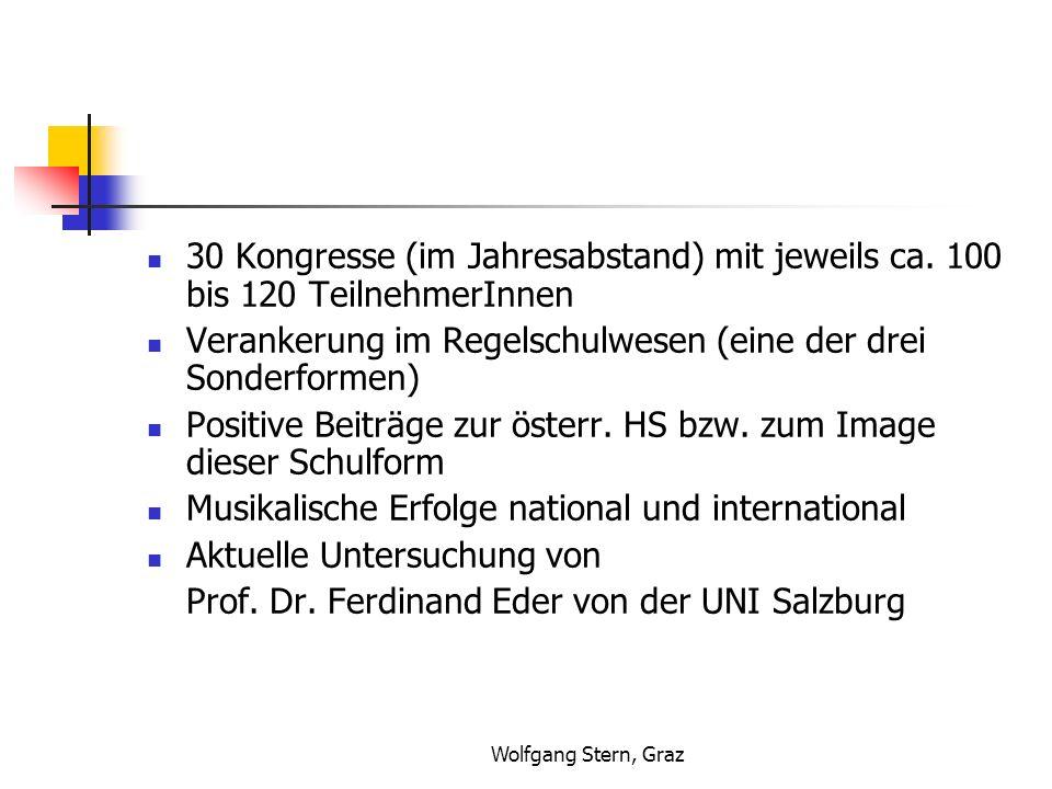 Wolfgang Stern, Graz Zusammenfassung der Ergebnisse: Für die Musikklassen sprechen besseres Klima allgemeines Befinden positiver gesündere Einstellung zum Lernen sinnvolleres Freizeitverhalten Auch (!): Positive Beeinflussung der Regelklassen