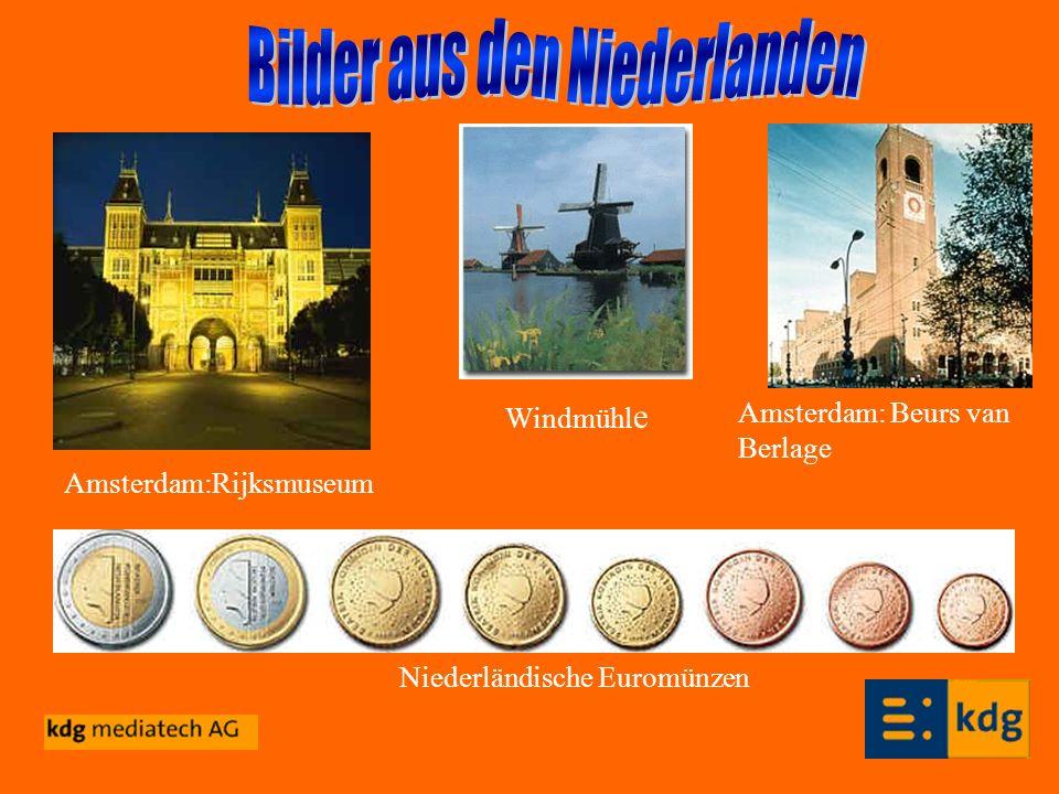Amsterdam:Rijksmuseum Niederländische Euromünzen Windmühl e Amsterdam: Beurs van Berlage