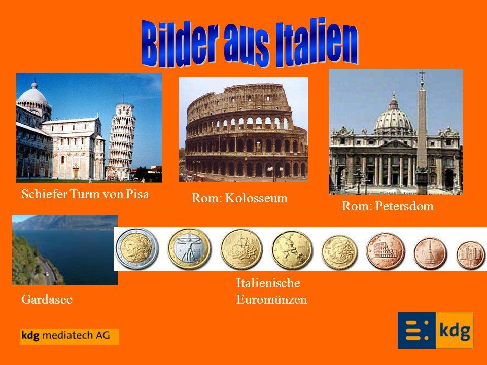 Schiefer Turm von Pisa Rom: Kolosseum Gardasee Italienische Euromünzen Rom: Petersdom