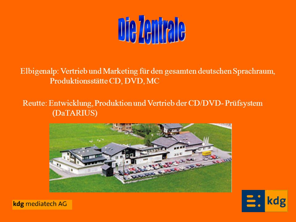 Elbigenalp: Vertrieb und Marketing für den gesamten deutschen Sprachraum, Produktionsstätte CD, DVD, MC Reutte: Entwicklung, Produktion und Vertrieb d