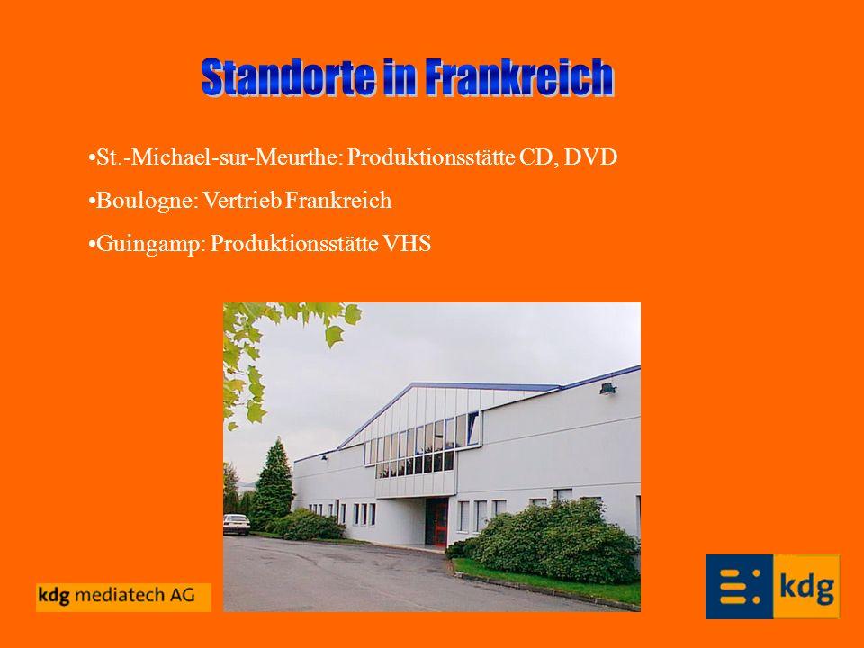 St.-Michael-sur-Meurthe: Produktionsstätte CD, DVD Boulogne: Vertrieb Frankreich Guingamp: Produktionsstätte VHS