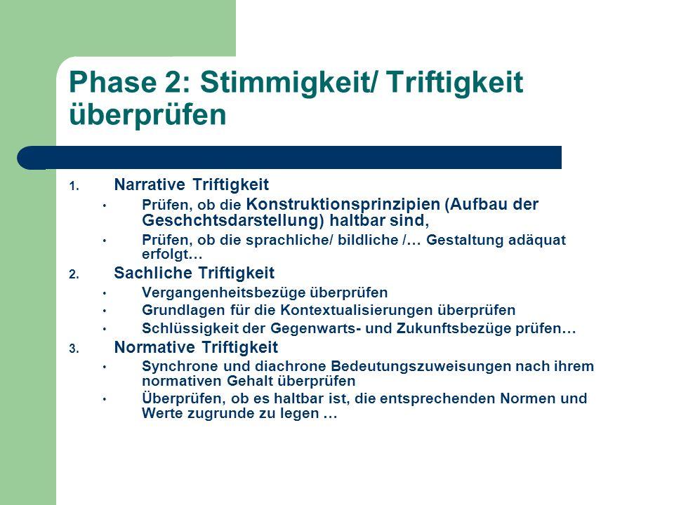 Phase 2: Stimmigkeit/ Triftigkeit überprüfen 1. Narrative Triftigkeit Prüfen, ob die Konstruktionsprinzipien (Aufbau der Geschchtsdarstellung) haltbar