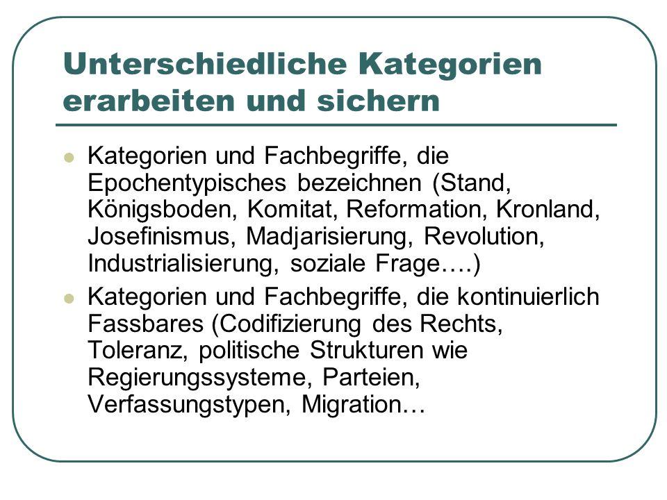 Unterschiedliche Kategorien erarbeiten und sichern Kategorien und Fachbegriffe, die Epochentypisches bezeichnen (Stand, Königsboden, Komitat, Reformat