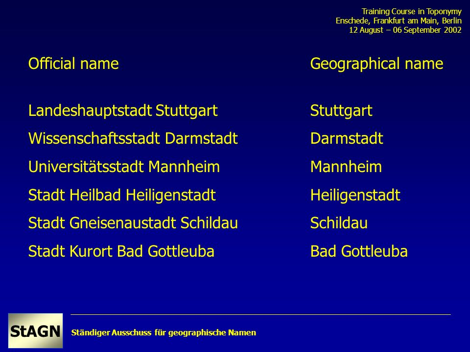 Ständiger Ausschuss für geographische Namen Training Course in Toponymy Enschede, Frankfurt am Main, Berlin 12 August – 06 September 2002 StAGN Landes