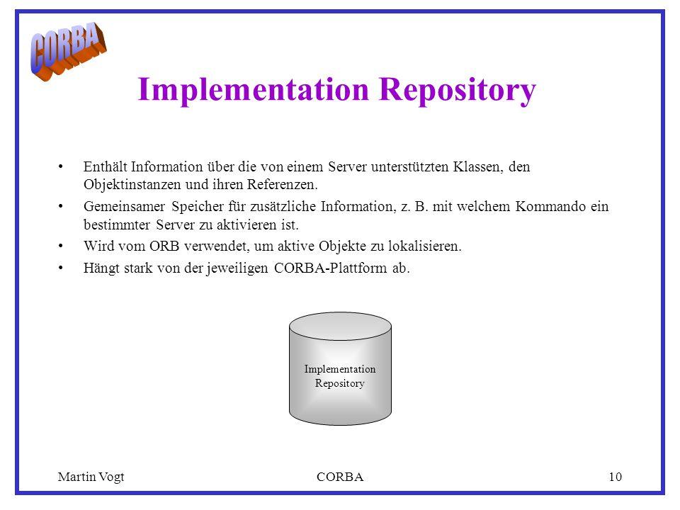Martin VogtCORBA10 Implementation Repository Enthält Information über die von einem Server unterstützten Klassen, den Objektinstanzen und ihren Referenzen.