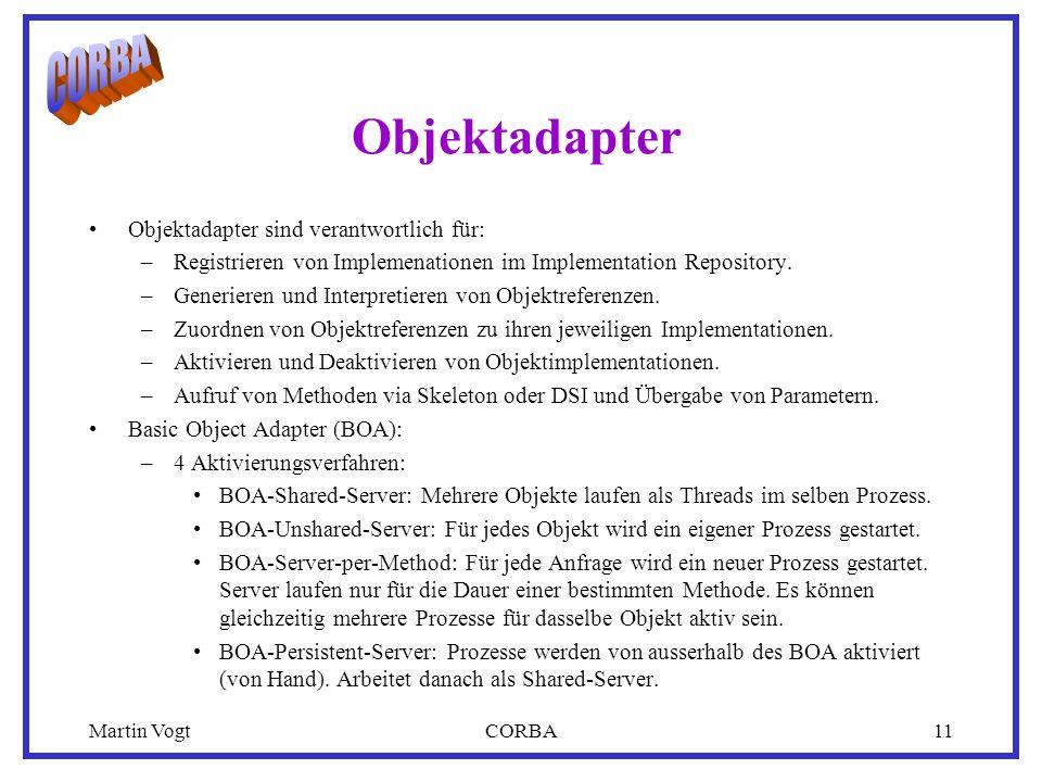 Martin VogtCORBA11 Objektadapter Objektadapter sind verantwortlich für: –Registrieren von Implemenationen im Implementation Repository.