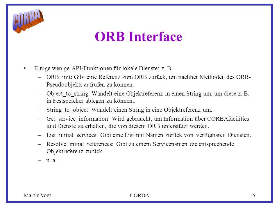 Martin VogtCORBA15 ORB Interface Einige wenige API-Funktionen für lokale Dienste: z.