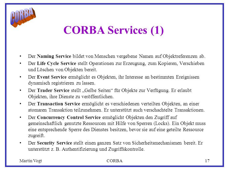 Martin VogtCORBA17 CORBA Services (1) Der Naming Service bildet von Menschen vergebene Namen auf Objektreferenzen ab.