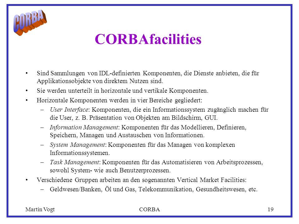 Martin VogtCORBA19 CORBAfacilities Sind Sammlungen von IDL-definierten Komponenten, die Dienste anbieten, die für Applikationsobjekte von direktem Nutzen sind.