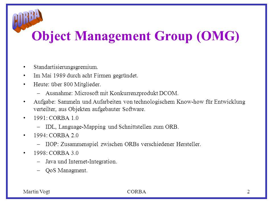 Martin VogtCORBA2 Object Management Group (OMG) Standartisierungsgremium. Im Mai 1989 durch acht Firmen gegründet. Heute: über 800 Mitglieder. –Ausnah