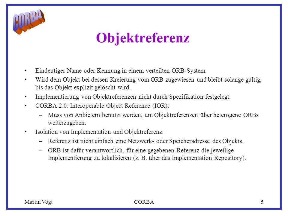 Martin VogtCORBA5 Objektreferenz Eindeutiger Name oder Kennung in einem verteilten ORB-System.