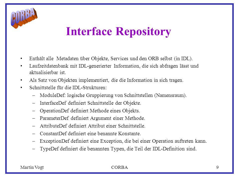Martin VogtCORBA9 Interface Repository Enthält alle Metadaten über Objekte, Services und den ORB selbst (in IDL).