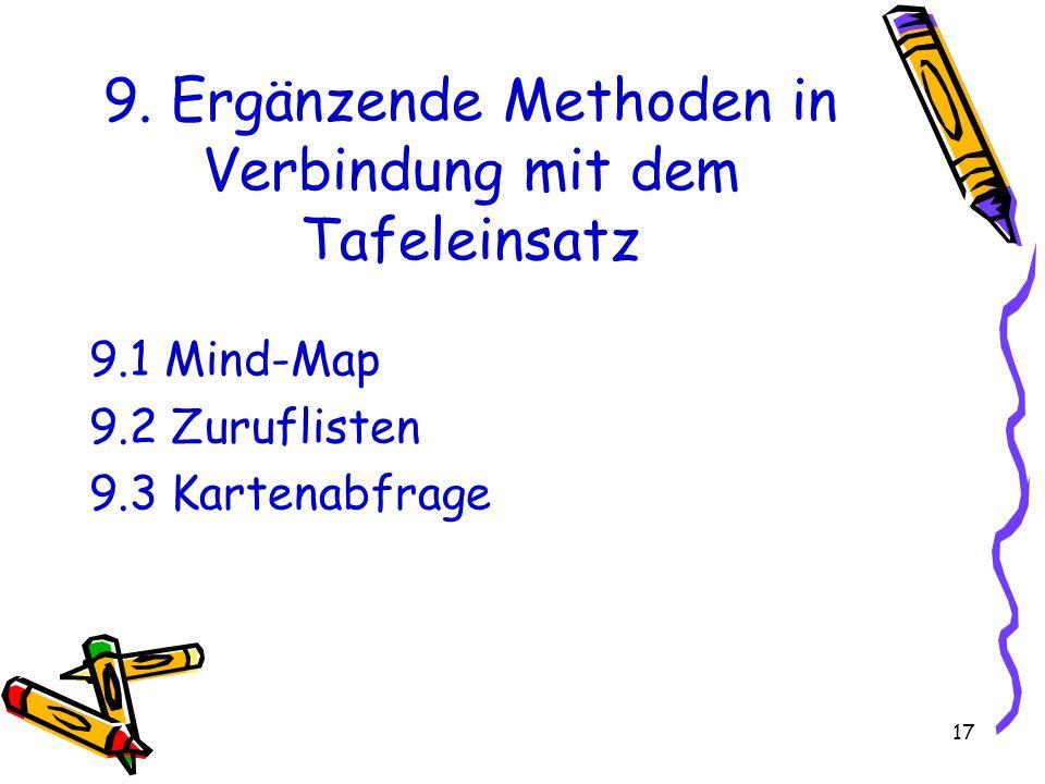 17 9. Ergänzende Methoden in Verbindung mit dem Tafeleinsatz 9.1 Mind-Map 9.2 Zuruflisten 9.3 Kartenabfrage