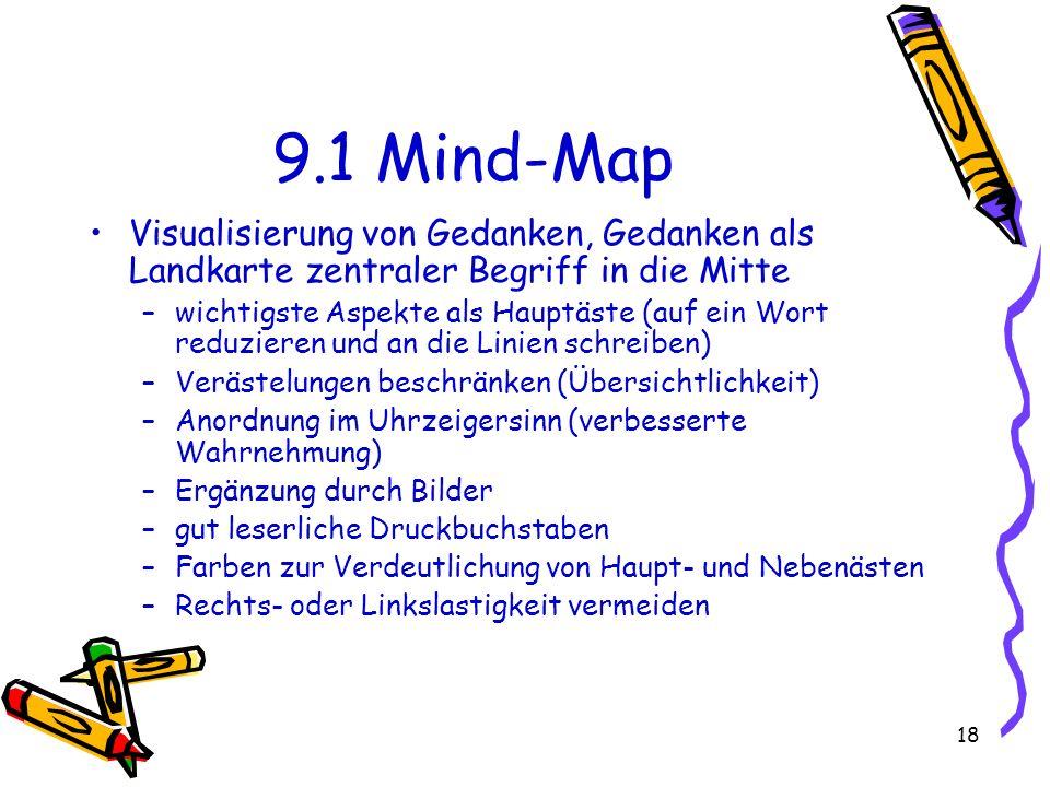 18 9.1 Mind-Map Visualisierung von Gedanken, Gedanken als Landkarte zentraler Begriff in die Mitte –wichtigste Aspekte als Hauptäste (auf ein Wort red
