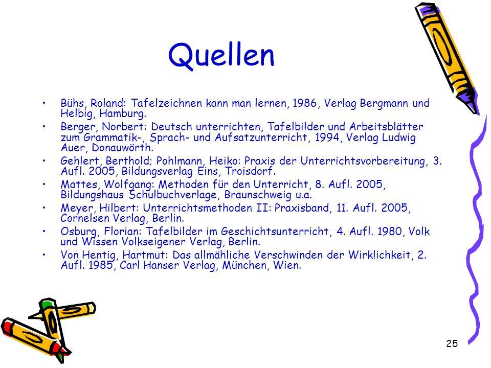 25 Quellen Bühs, Roland: Tafelzeichnen kann man lernen, 1986, Verlag Bergmann und Helbig, Hamburg. Berger, Norbert: Deutsch unterrichten, Tafelbilder