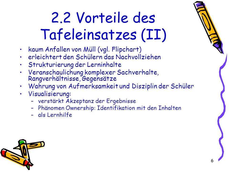 6 2.2 Vorteile des Tafeleinsatzes (II) kaum Anfallen von Müll (vgl. Flipchart) erleichtert den Schülern das Nachvollziehen Strukturierung der Lerninha