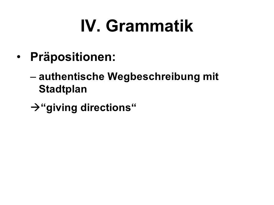 IV. Grammatik Präpositionen: –authentische Wegbeschreibung mit Stadtplan giving directions