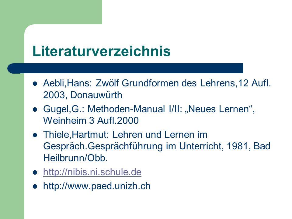 Literaturverzeichnis Aebli,Hans: Zwölf Grundformen des Lehrens,12 Aufl.