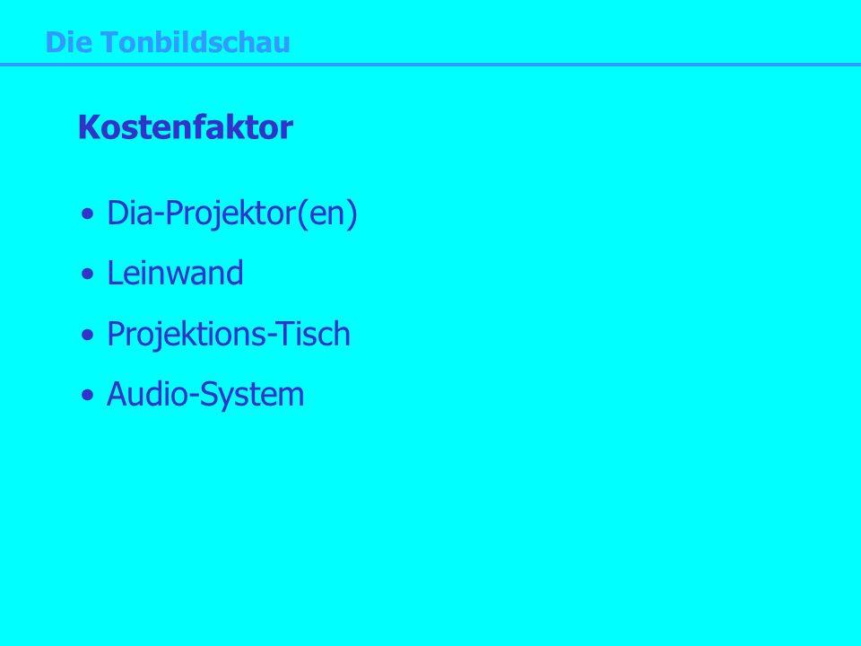 Die Tonbildschau Kostenfaktor Dia-Projektor(en) Leinwand Projektions-Tisch Audio-System