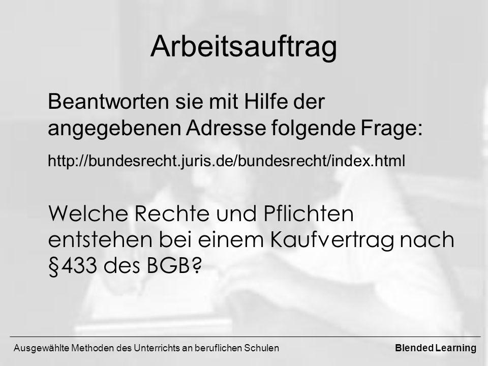 Arbeitsauftrag Beantworten sie mit Hilfe der angegebenen Adresse folgende Frage: http://bundesrecht.juris.de/bundesrecht/index.html Welche Rechte und Pflichten entstehen bei einem Kaufvertrag nach §433 des BGB.
