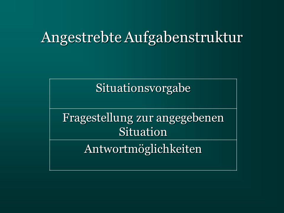 Angestrebte Aufgabenstruktur Situationsvorgabe Fragestellung zur angegebenen Situation Antwortmöglichkeiten